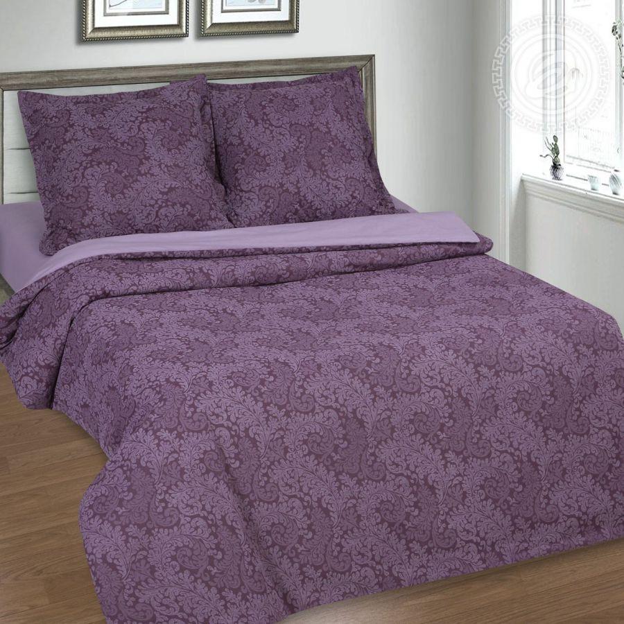 """«Вирджиния (фиолетовый)» (DE LUXE """"Радуга"""") постельное белье Поплин 2-х спальный с евро"""