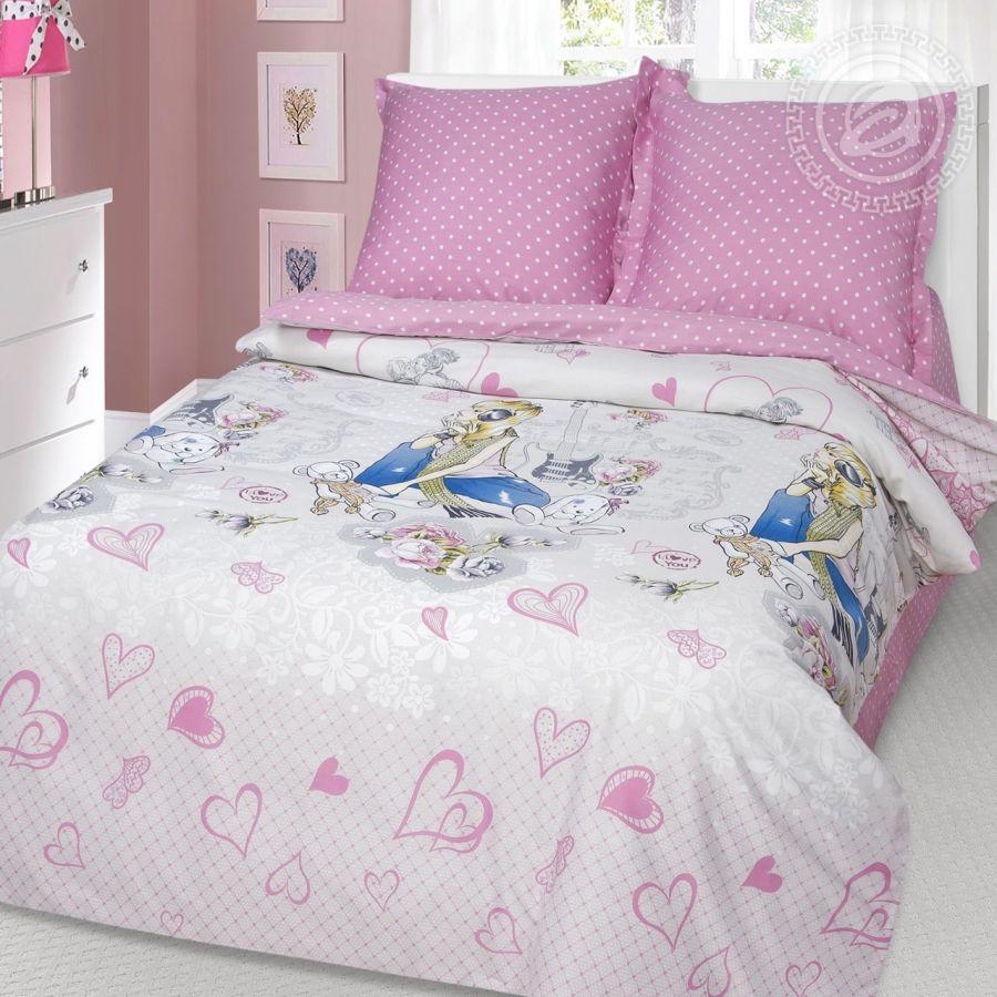 «Розовые мечты» постельное белье Сатин 1.5 спальный