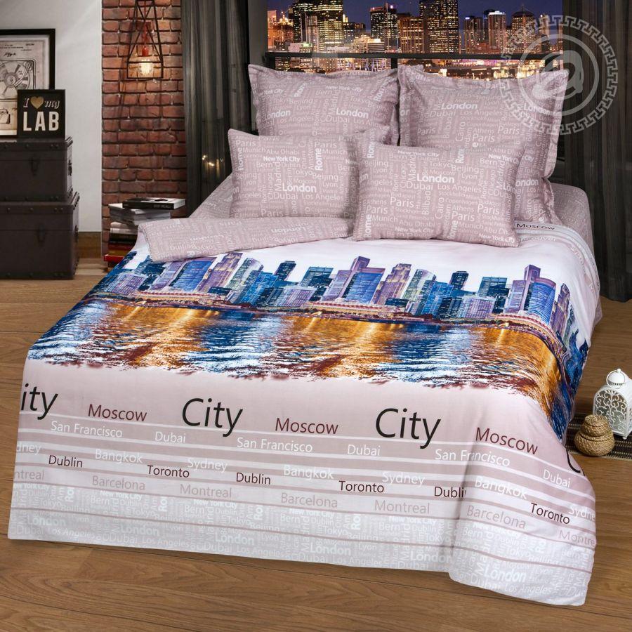 «Мегаполис» постельное белье Сатин 2-х спальный с евро