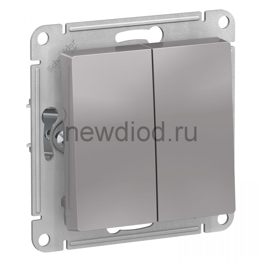 AtlasDesign Алюминий Выключатель 2-клавишный сх.5, 10АХ, механизм