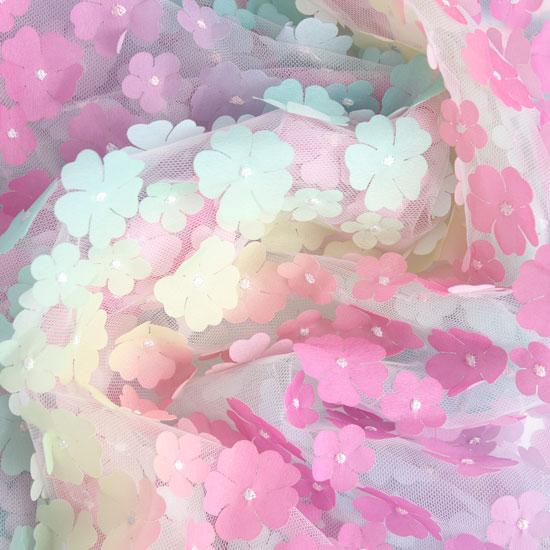 Мягкий фатин (еврофатин) - Радужные цветочки 130х25