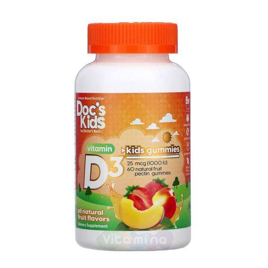 Doctor's Best Doc's Kids Жевательные таблетки с витамином D3 1000 МЕ, 60 таб.