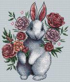 """""""Bunny in flowers"""". Digital cross stitch pattern."""