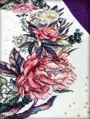"""Wreath with peonies"". Digital cross stitch pattern."