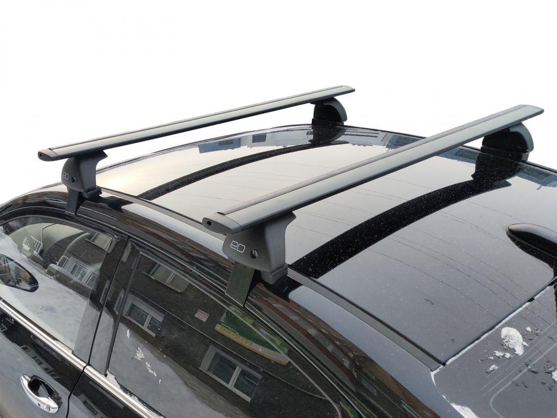 Багажник на крышу Volkswagen Polo sedan (2010-2020), Евродеталь, черные крыловидные дуги