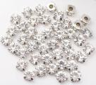Стразы пришивные в цапах стекло SS16 (4 мм), упаковка 100 штук (SmilB-SS16/silver-crystal)