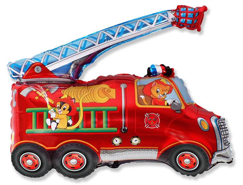 Пожарная машина, звериный экипаж шар фольгированный с гелием