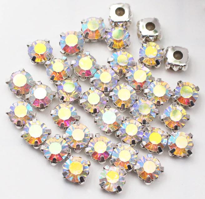 Стразы пришивные в цапах стекло SS12 (3 мм), упаковка 100 штук разные цвета страз (SmilB-SS12)