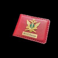 Обложка для служебного удостоверения ФССП с гербом красная