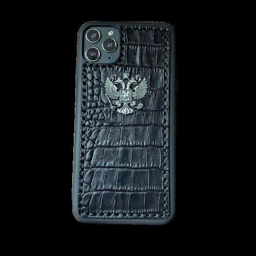 Кожаный чехол-накладка для телефона с металлическим гербом России