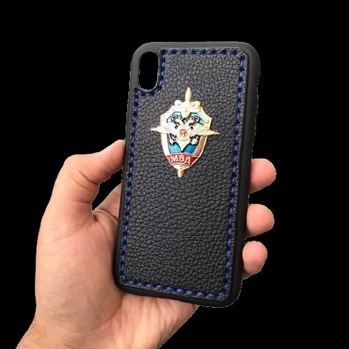 Кожаный чехол-накладка символикой МВД России