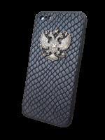 """Кожаный чехол-накладка """"Черный питон""""с гербом РФ на телефон"""
