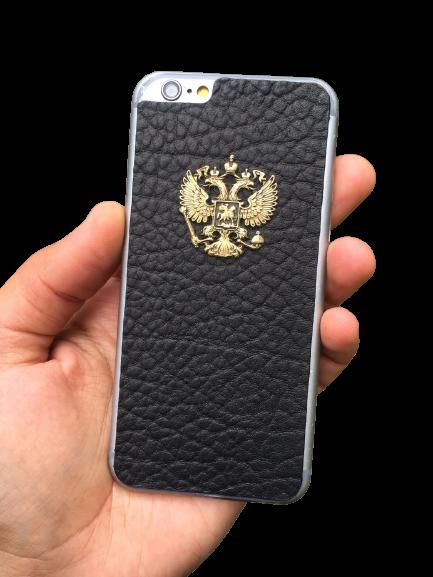 Кожаный чехол-накладка с гербом РФ черный фон на iPhone
