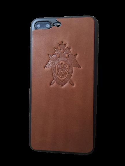 Кожаный чехол-накладка с гербом СКР России на телефон
