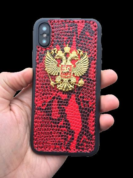 Кожаный чехол-накладка с гербом РФ красный фон на iPhone