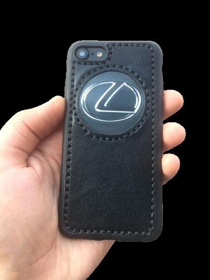 """Кожаный чехол-накладка с логотипом """"Lexus""""  на iPhone"""