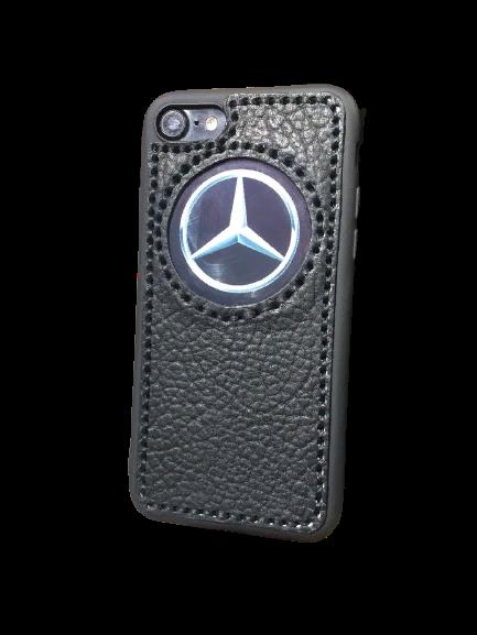 """Кожаный чехол-накладка с логотипом """"Mercedes"""" на iPhone"""