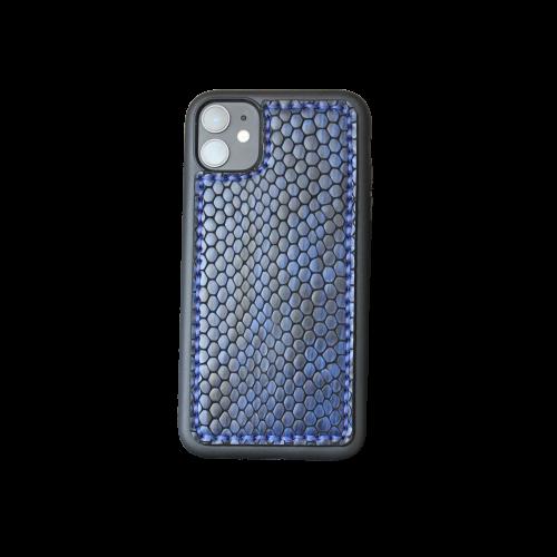 "Кожаный чехол-накладка ""Синий питон"" на телефон"