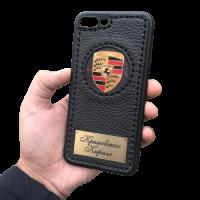 """Кожаный чехол-накладка """"Porsche""""  с именной гравировкой на iPhone"""