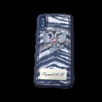 """Кожаный чехол-накладка """"Zebra"""" с гербом РФ и именной гравировкой для телефона"""