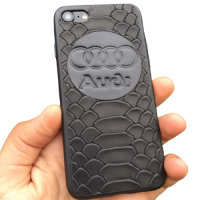 """Кожаный чехол-накладка с логотипом """"Audi"""" на телефон"""