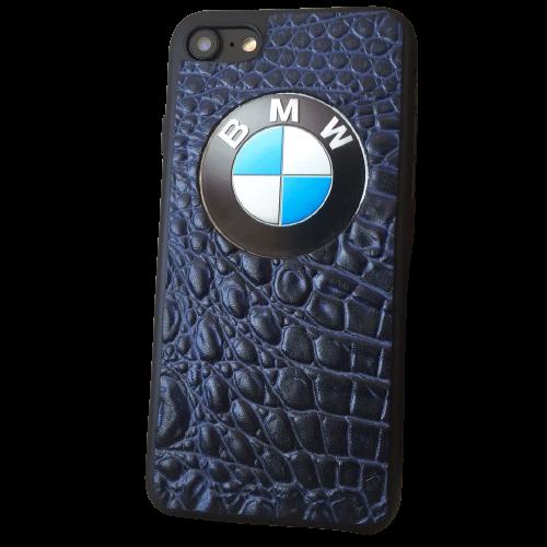 """Кожаный чехол-накладка с логотипом """"BMW"""" на телефон"""