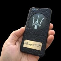 "Кожаный чехол-накладка  с логотипом ""Maserati"" на телефон"