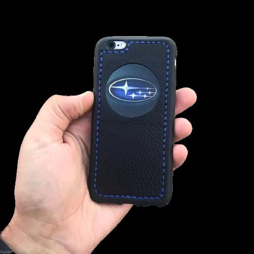 """Кожаный чехол-накладка с логотипом """"Subaru"""" на телефон"""