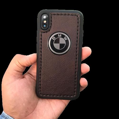 """Кожаный чехол-накладка с логотипом  """"BMW"""" коричневый на телефон"""