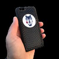 """Кожаный чехол-накладка  """"Волк с розой"""" черный на телефон"""