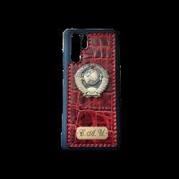 Кожаный чехол-накладка с гербом СССР красный на телефон