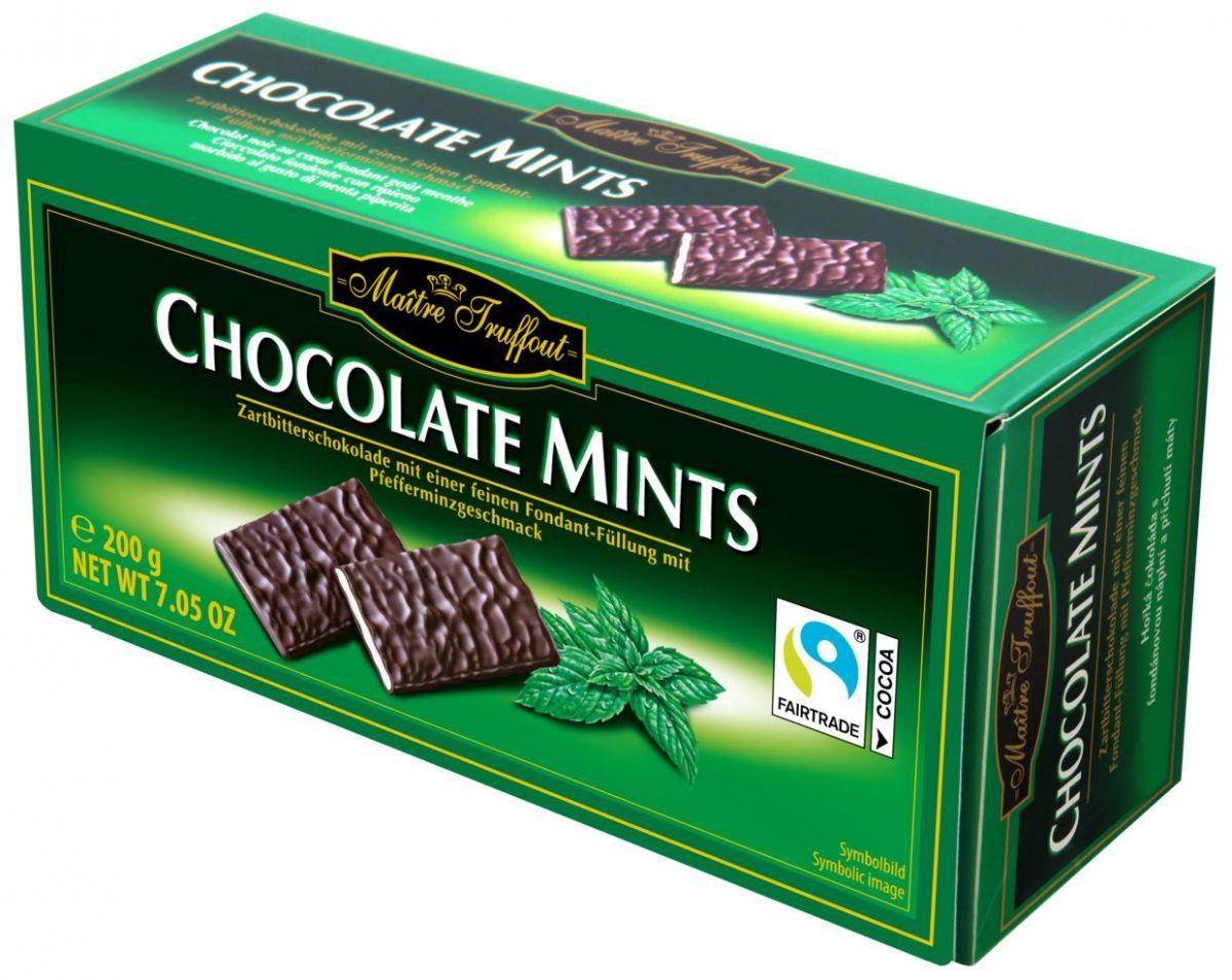 Шоколадные пластины Maitre Truffout (мята) 200г