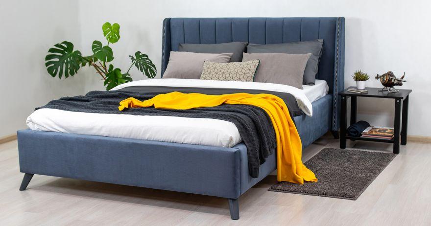 Мелисса Кровать двойная арт. Тори 83 велюр (серо-синий) МОБИ