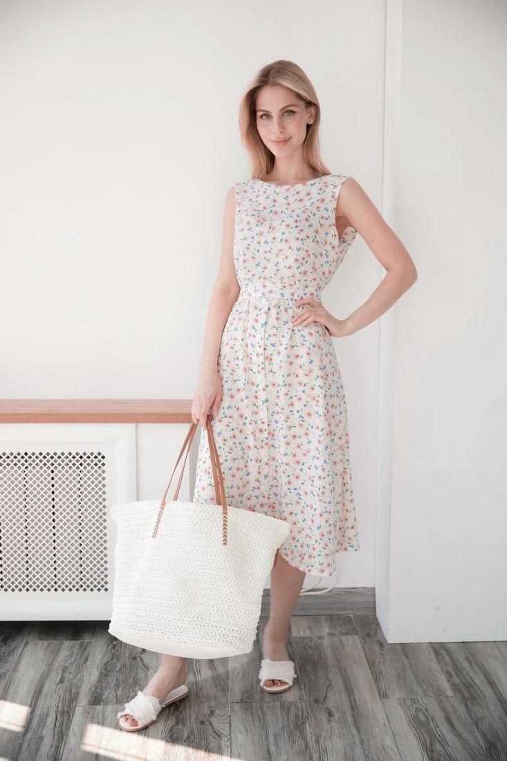 4012 Платье из хлопка с запахом по спинке белое