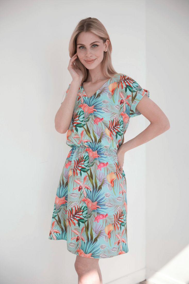 4013 Платье с ярким летним принтом