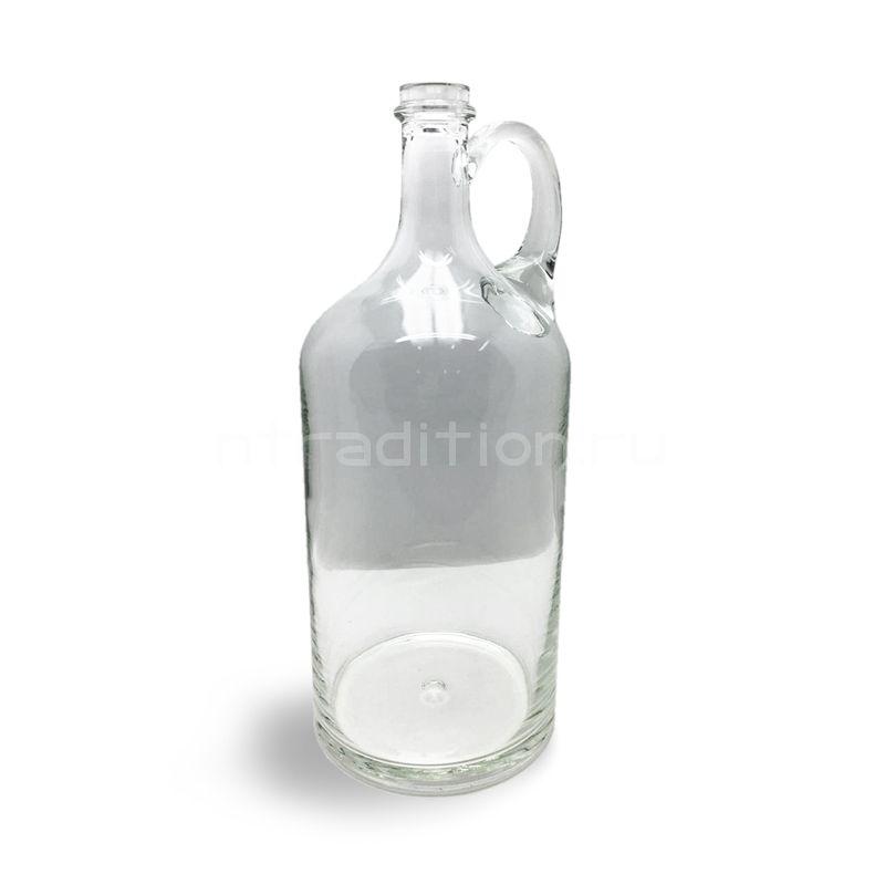 Бутыль прозрачная, с ручкой, 2 литра (ручная работа)