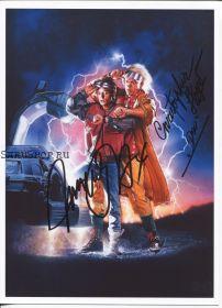 Автографы: Майкл Дж. Фокс, Кристофер Ллойд. Назад в будущее II