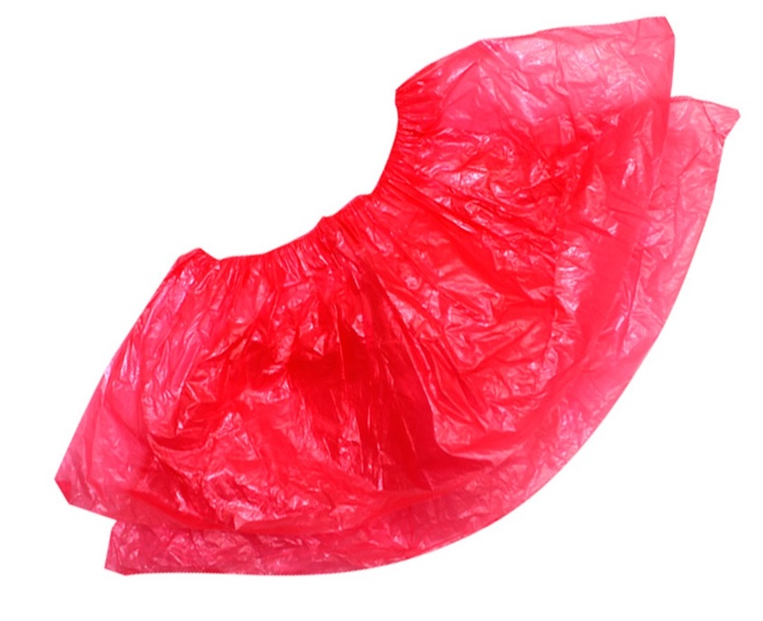 Бахилы полиэтиленовые красные(усиленные) 3.6 гр.  50 пар