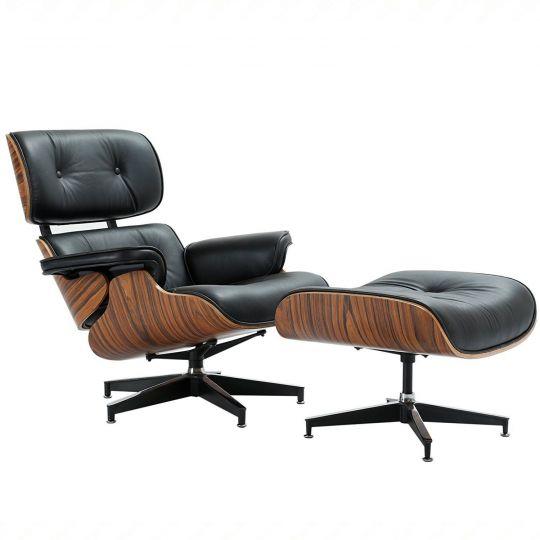 Кресло EAMES LOUNGE CHAIR чёрный и оттоманка EAMES  LOUNGE CHAIR чёрная