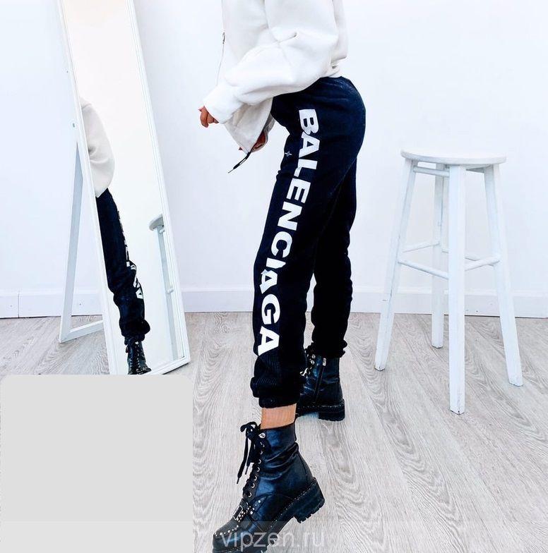 Люксовые штаны на флисе со светоотражающими надписями