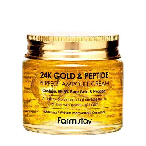 Крем для лица FarmStay 24K Gold & Peptide Perfect Ampoule Cream 80мл