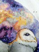 Digital cross stitch pattern Space owl.