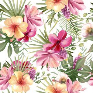 Хлопок Перкаль - Тропический сад на белом 50х37