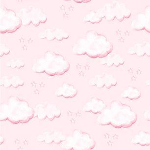Хлопок Перкаль - Облачка на розовом 50х37