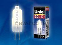 Лампа галогенная JC-12/20/G4 матовая Uniel 4607143129863