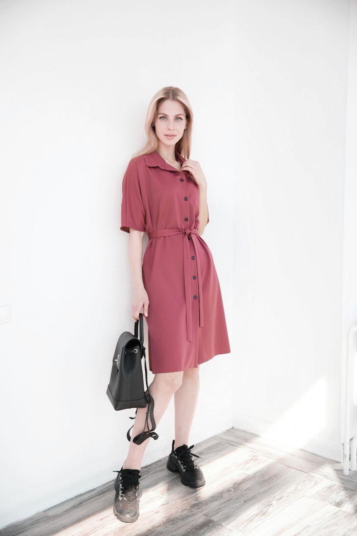 4026 Платье-рубашка брусничного цвета