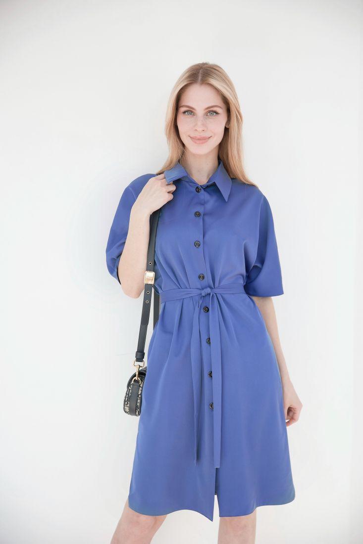 4027 Платье-рубашка в джинсовом синем