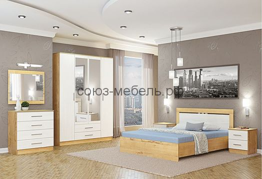 Спальня Светлана (комод+зеркало+шкаф 4х+тумбы 2шт+кровать №1)