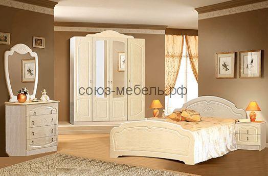 Спальня Валенсия (шкаф 4х+кровать №1+тумбочки 2шт+комод+зеркало)
