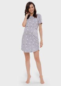"""Ночная сорочка """"Мелания"""" для беременных и кормящих; серый"""